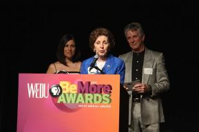 Ms. Margo giving acceptance speech at WEDU awards ceremony 2014