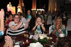 Red Apple Staff celebrating Ms. Margo's win at WEDU awards ceremony 2014